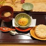日本料理 太月 - 安穏芋、紅芋、あわのぜんざい