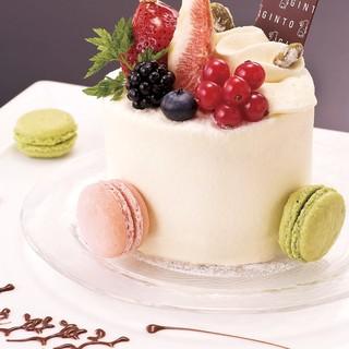 7500円コース以上ご予約限定デザートをホールケーキに変更!