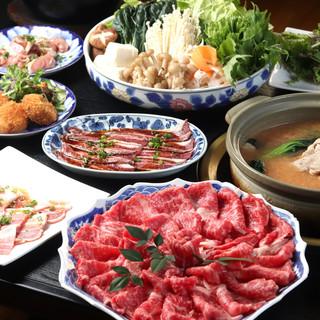 しゃぶしゃぶ、すき焼き、もつetc…年中提供◎お得な鍋コース