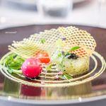 """ASAHINA Gastronome - 活平目のタルタル キャビアと共に、  ポムゴーフルとアネットの香るソース""""グラブラックス"""""""