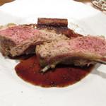 97358781 - メイン料理~シストロン産 仔羊の炭火焼き ゴボウの赤ワイン煮 赤ワインソース