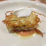 97358793 - 広島地御前カキとじゃが芋のトルティーノ トマトのソース 牛乳とニンニクの入ったアリオリソース