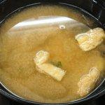 松屋 - 松屋 本蓮沼店 定食・丼メニューに付く揚げと若芽の味噌汁