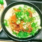 Nihombashisanukiudonhoshino - 肉ぶっかけにネギと一味をぶっかけたらできたうどん