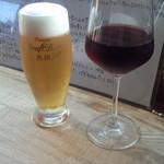 ラ ピッツァ - 生ビール(470円)&ハウスワイン(赤)(290円)