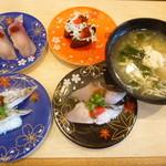 廻る寿司 金太郎 - はまち、釜揚げしらす、炙り太刀魚、さわら、海鮮あら汁