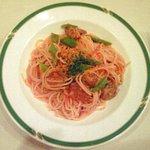 Trattoria Serena - Aプランツォ 1500円 のサルシッチャとインゲンのトマトソーススパゲッティ