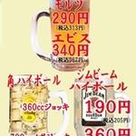 すし・生そば 銀蔵 - 角,ジムビームハイボール190円 角,ジムビームメガハイボール360円  モルツ290円エビス340円 各1杯の値段です。