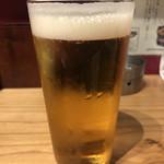 地鶏炭火焼 鶏樹 - 生ビールはプレミアムモルツ