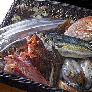 産地直送で出揃う新鮮な海鮮。訪れる度に出会える旬味を味わう。