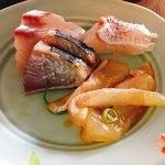 阿波郷土料理 彩 - カンパチ、鰹、鯛のお刺身・松皮作り、 へぎ作り