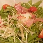二代目合点 - ベーコンと水菜の温玉サラダ