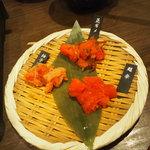 九州 熱中屋 - お通しの明太子3種盛り