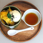 焼き芋とバニラアイス