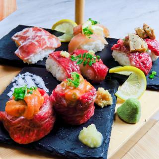 個室で肉寿司を喰らう!