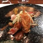 レストラン ラリューム - 大分県産車海老のポシェ コールラヴィのサラダと共に