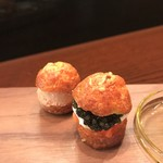 レストラン ラリューム - 森林鶏白レバー・八幡平サーモンの自家製スモークのグジュール