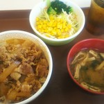 すき家 - 牛丼(並)+サラダセット 350円+150円