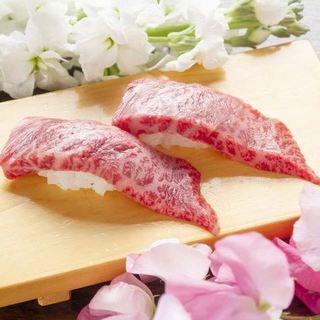 島根県益田市の松永牧場から直送の国産黒毛和牛を使った肉寿司