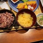 一旬 - 八穀米・味噌汁・切干大根の酢物 ゆず風味