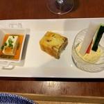 一旬 - ミニ野菜スティック 自家製タルタルソース・パウンドケーキ・ひと口冷やっこ ちり酢ジュレのせ