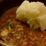 めん房 新月亭 - 「カレーうどん(小ライス付)」最後は御飯を入れていただきます。