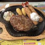 びっくりドンキー - エビフラ&ハンバーグステーキのアップ