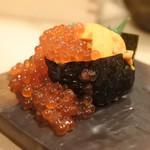 鮨・酒・肴 杉玉 - 雲丹といくらのこぼれ軍艦♡