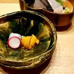 日本料理 e. - 御造り(アカイカ・ウニ・鰆)