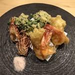旬菜 おぐら家 - 足赤海老の天ぷら