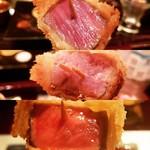 97607929 - 宮崎牛ヒレ肉(上)、豚ヒレ肉(中)、宮崎牛サーロイン(下)