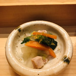 響 - 鶏肉と菜の花カラスミ添え