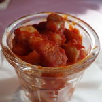 97648229 - タパス:ベーコンと豆のトマト煮込み