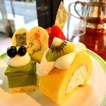 ブラスリーミリー ラ・フォーレ - 1皿目@抹茶ムース、ショートケーキ、ロールケーキ