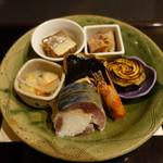 新日本料理 神也 - あん肝、茄子田楽、ふぐ煮凝り、白身南蛮、鰆幽庵焼き、鯖寿司