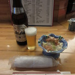 割烹 魚仙 - 瓶ビールとお通し