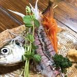 お食事居酒屋 ぽんぽこ - 料理写真:活アジの姿造り