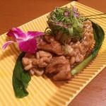 地鶏と個室居酒屋 よし河 - 名古屋コーチンとタラ白子のバターしょうゆ焼き
