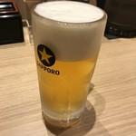 大阪お好み焼き 清十郎 - 生ビール(中)、580円(税別)