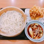 丸亀製麺 - 肉汁うどん・野菜かき揚げ天