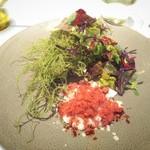 97701789 - オードブル 当店のスペシャリテ 牡蠣 おご海苔 ビーツ