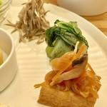 たなこころ - ランチプレート(¥1,080) 厚揚げの南蛮漬け、青梗菜ごま和え、ごぼうの胡麻クリームサラダ