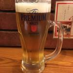 牛たん 荒  - 生ビール(プレミアムモルツ). (580円) (外税)