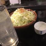 もり平 - 熱燗とレモンサワー、ニンニクチップがガンガン乗ったキャベツで乾杯♪(*^^)o∀*∀o(^^*)♪