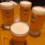 手打蕎麦 とし庵 - 生ビールで乾杯♪ (*^o^)っ凵☆凵c(^-^*)