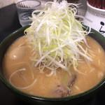 97722217 - ネギ味噌ラーメン+名古屋コーチン味付玉子 ¥1200+100
