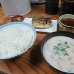 大衆食堂 山田屋 - 塩鯖+かす汁+めし大