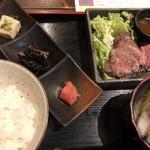 サカヅキ - 黒毛和牛レアステーキ定食