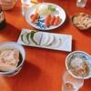 いづみや - 料理写真:ピリ辛ウインナー  350円(上)、いづみや名代もつ煮込み  170円(右上)、梅大根  250円(中央)、しらすおろし  300円(右下)、肉豆腐  250円(左下)  ※食べかけ注意
