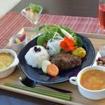 畑のレストラン ひら里 - 料理写真:ランチセット(ハンバーグ)